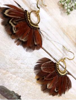 Boucles d'oreilles chocolat en plumes et perles de verre miyuki bohème - Boutique l'ananas