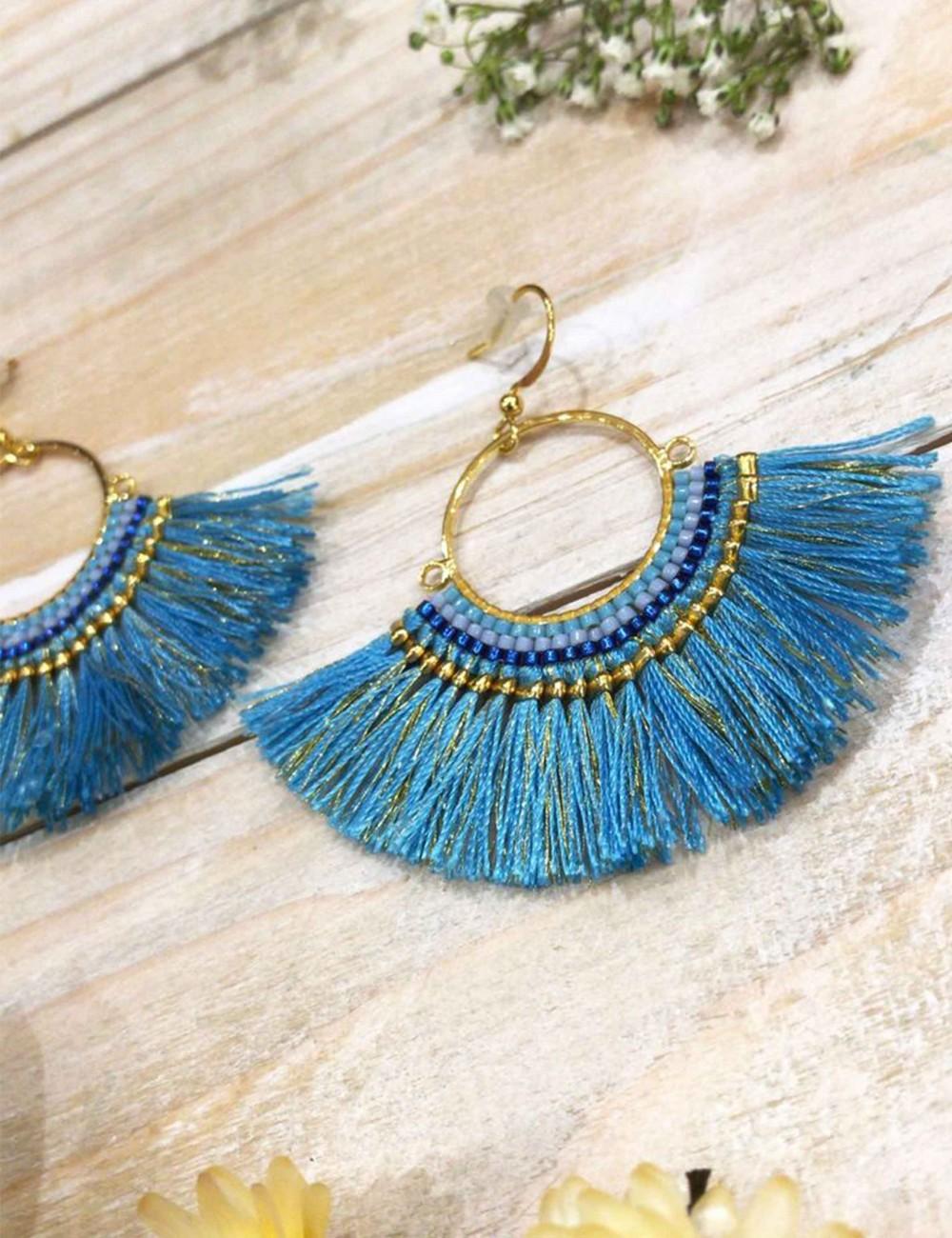 Boucles d'oreilles bleues à franges colorées - Boutique l'ananas