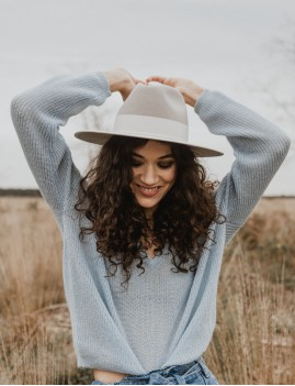 Chapeau laine gris NINA feutre large hippie - Boutique L'ananas