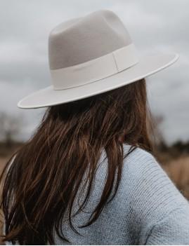 Chapeau bohème laine gris NINA feutre boho chic - Boutique L'ananas