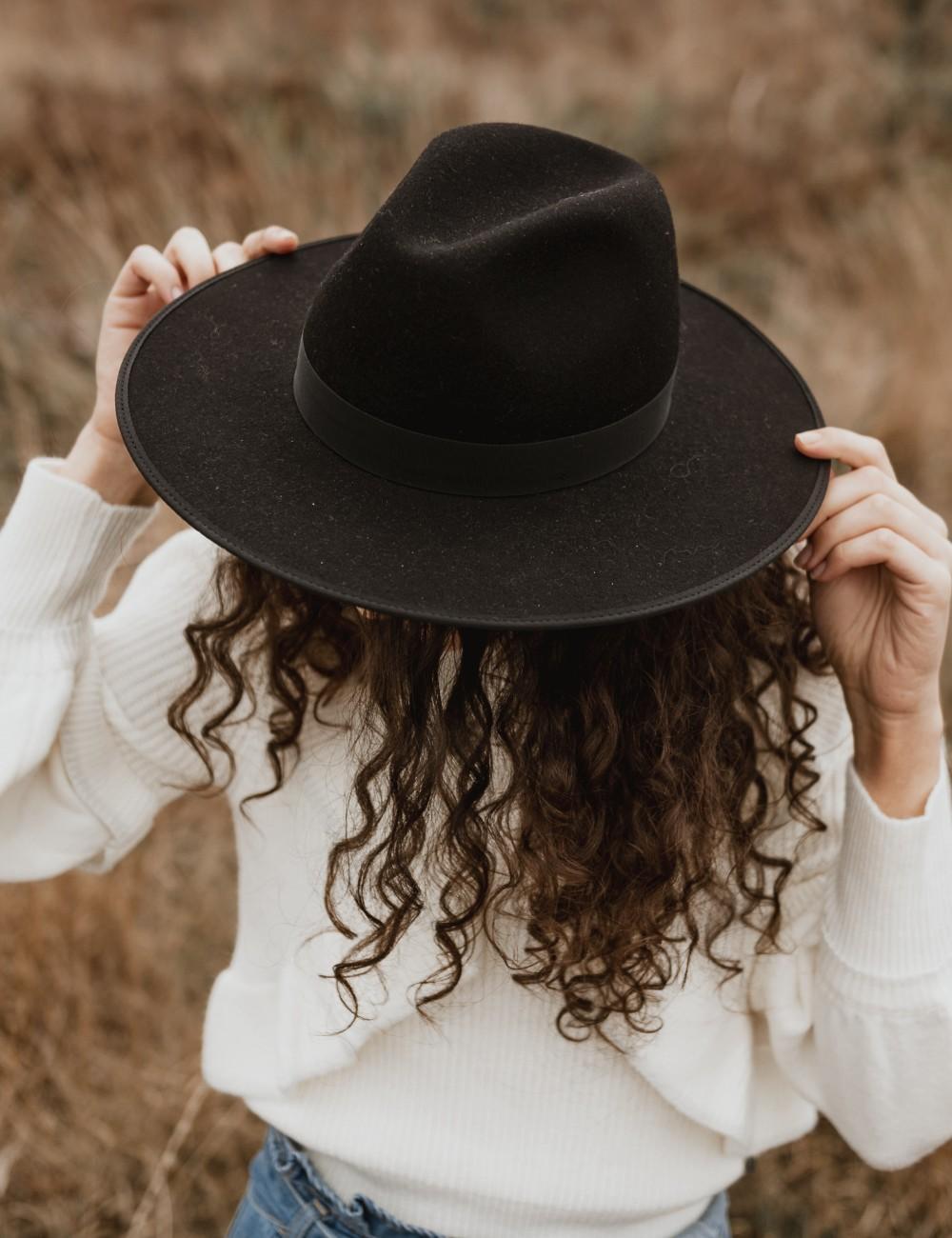 Chapeau laine noir esmee bohème - Boutique L'ananas