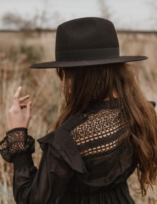 Chapeau laine noir esmee boho - Boutique L'ananas