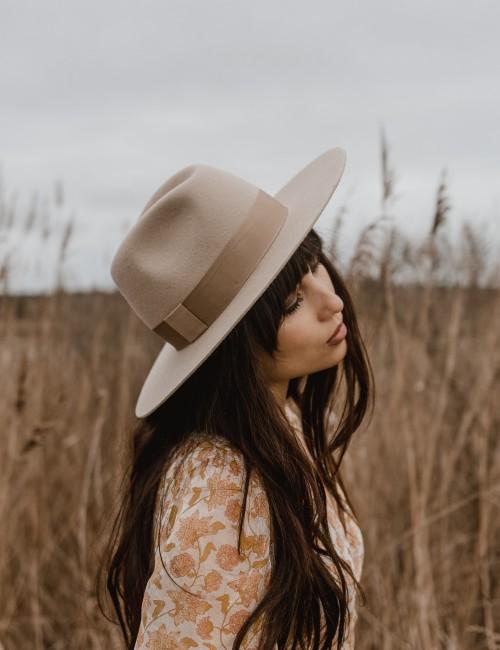 Chapeau laine beige june bohème - Boutique L'ananas